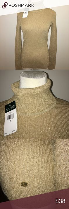 Ralph Lauren metallic gold Sweater. Ralph Lauren metallic gold Sweater. Ribbed sweater, not heavy. Can be worn layered or alone.Lovely for the holidays Ralph Lauren Sweaters Cowl & Turtlenecks