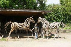 life size drifwood horse sculptures