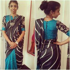 Ordinary saree teamed wit a well designed blouse! Simple Blouse Designs, Saree Blouse Designs, Sari Blouse, Blouse Patterns, Blouse Neck, Blouse Models, Stylish Sarees, Elegant Saree, Beautiful Blouses