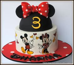 Hand painted Mickey and Minnie - cake by Jo Finlayson (Jo Takes the Cake)