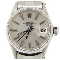 Pre-owned Rolex Date 6516 Stainless Steel Jubilee Band With Silver... (6.080 RON) ❤ liked on Polyvore featuring jewelry, watches, preowned watches, bezel watches, rolex jewelry, pre owned watches and preowned jewelry