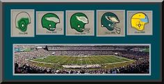 Philadelphia Eagles Lincoln Financial Field Framed & Double Matted With Philadelphia Eagles Wool Felt Logos