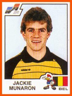 Jackie Munaron of Belgium. Euro 1984 card.