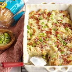 This ⓇGluten Free Maple Bacon and Gruyere Breakfast Casserole is packed with sweet and savory flavors that make the perfect hearty breakfast. It's easily made ahead of time and can be popped in the oven in the morning. Fun Easy Recipes, Whole Food Recipes, Easy Meals, Gluten Free Breakfasts, Gluten Free Recipes, Gluten Free Breakfast Casserole, Breakfast Recipes, Gluten Free Doughnuts, Maple Bacon
