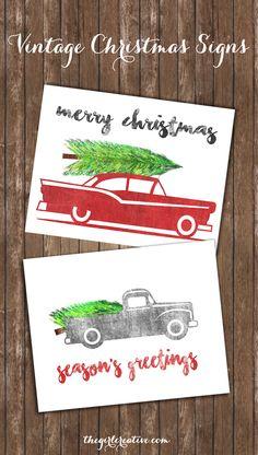 Free Vintage Christmas Signs Printables - simple vintage rustic designs to add to your Christmas decor.