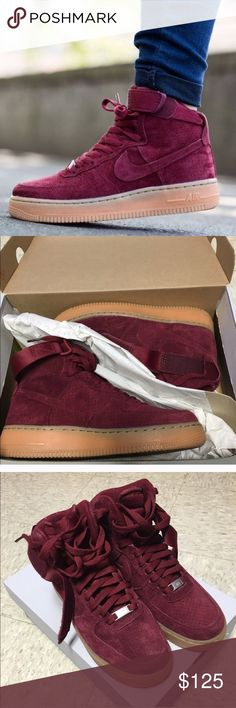 Nike Air Force 1 High - red suede Excellent condition. I just don't use these shoes enough to have to keep them. Price is firm as I would rather keep them in my closet than let them go for too little. Thanks! Nike Shoes Sneakers