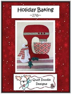 This little snowman is ready to keep you company as you do some holiday baking. This sweet design is adorable on a tea towel or made into a potholder or table runner. Quilt Patterns, Sewing Patterns, Doodle Designs, How To Purl Knit, Yarn Shop, Holiday Baking, Applique Designs, Free Sewing, Doodles