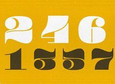 Pompadour, letras vintage de números