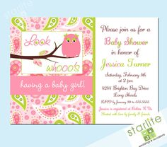Owl baby shower invitation - Owl with Paisleys Pink Green - Look Whooo's Having a Baby Girl - Baby Girl Shower - PRINTABLE. $15.00, via Etsy.