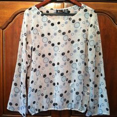 ALC Blush sheer top ALC Blush sheer top. Grey, charcoal, silver sequin circle design. Long slit sleeves. Light elastic waist. Polyester Tops