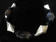 necklace of black netquartz onyx and silver by FlorenceJewelshop