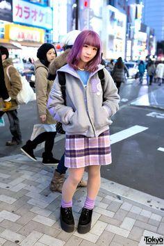 Pastel Purple Hair & Pastel Sailor Collar Varsity Jacket in Harajuku