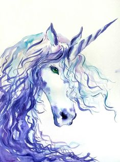 Ice Unicorn original watercolor painting nursery decor