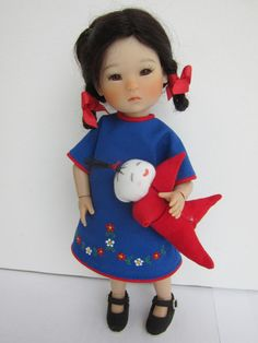 """Dresses for very small dolls:  These patterns were drafted to fit 8""""/20cm BJDs like Ten Ping, Strawberina, etc. The measurements of the dolls shown"""