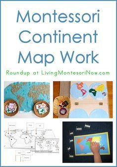 Montessori Continent Map Work (DIY Montessori continent maps and continent pin maps)