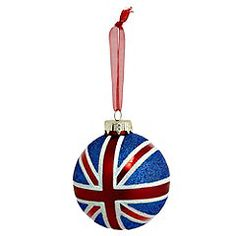 A shimmery, classically lovely Union Jack glass Christmas ornament.