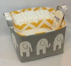 """LG Diaper Caddy 10""""x10""""x7"""" Fabric Storage Bin Organizer, Basket, White/Grey Elephant with Yellow/White Chevron Lining by Creat4usKids on Etsy https://www.etsy.com/listing/129751759/lg-diaper-caddy-10x10x7-fabric-storage"""