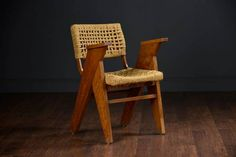 Vintage French Rope Desk Arm Chair with V Shape Thick Wood Legs and Wide Flat Arms Circa 1950's