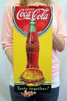 "Drink Coca Cola Soda & Burger Retro Tin Sign 3D Wall Decor 17"" FREE SHIP + NR!!"