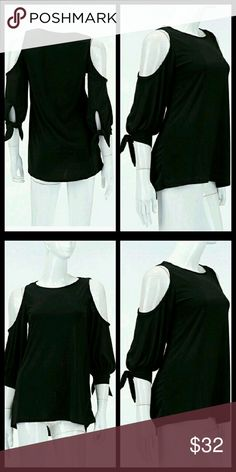 """😍New Listing😍Cold Shoulder Top Solid/Tie Detail Cold Shoulder Top. Made in the USA! 96% Polyester 6%:spandex. 27"""" long Tops Blouses"""