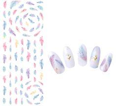 DS271 Diseño Nails Art Sticker Harajuku Arco Iris Plumas Nail Wraps de…