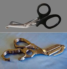 Redesign of trauma shears that can cut through almost anything (below). One solid piece.