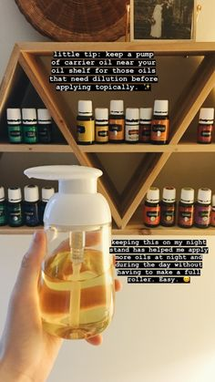 Helpful hint: put carrier oil in a small pump near oils My Essential Oils, Young Living Essential Oils, Essential Oil Diffuser, Essential Oil Blends, Yl Oils, Doterra Oils, My Essentials, Carrier Oils, Young Living Oils