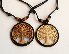 Hand carved Coconut necklaces - Tree of Life.