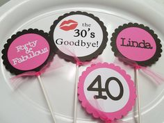 Forty and fabulous centerpiece, Forty and fabulous cupcake toppers, forty party decorations, 40th birthday,forty birthdy party, age banner by MindysPaperPiecing on Etsy
