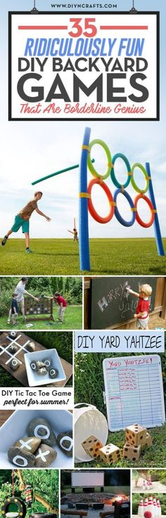 35 Ridiculously Fun DIY Backyard Games That Are Borderline Genius Summer is a g. - 35 Ridiculously Fun DIY Backyard Games That Are Borderline Genius Summer is a great time for parti - Outdoor Games To Play, Backyard Games, Outdoor Fun, Kids Outside Games, Backyard Decorations, Outdoor Ideas, Cool Diy, Yard Yahtzee, Partys