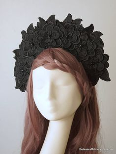 Marvelous Black Floral Headdress will make you feel like a Queen!  Materials: Black 3D floral embellishments, wire frame, glass beads, handmade wire headband covered with brown fabric, metal comb, elastic (goes under your hair).  One size fits all. Gorgeous accessory for racing, wedding, parties, photo shoot and other special events in your life!  Ready to ship
