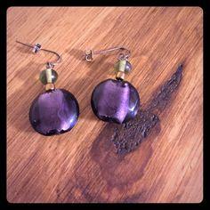 Earrings with large purple stone Dangling earrings with late purple stone and small greenish stone Never worn Jewelry Earrings
