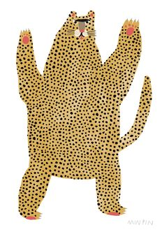 GRRR! A3 PRINT The cheetah is characterised by a slender body, deep chest, spotted coat, a small rounded head, black tear-like streaks on the face, long thin legs and a long spotted tail. Typically yellowish tan or rufous to greyish white, the coat is uniformly covered with nearly 2,000 solid black