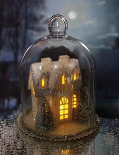 Enchanted Cottage Cloche - Christmas House in Bell Jar