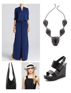 A modern maxi dress, statement necklace, wedge and fedora is forever boho chic!