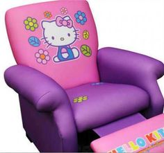 Lazy boy for kids? Hello Kitty - Deluxe Recliner How funny.my daughter would love this! Hello Kitty Zimmer, Hello Kitty Haus, Hello Kitty Bedroom, Cat Bedroom, Hello Kitty Stuff, Bedroom Decor, Hello Kitty Collection, Little Girls, Kids Room