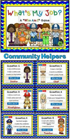 """My first Social Studies PPT Game! This """"Who Am I"""" game will be tons of fun… Community Helpers Kindergarten, Community Helpers Activities, Kindergarten Social Studies, School Community, Teaching Social Studies, My Community, Community Helpers Crafts, Kindergarten Learning, Communities Unit"""