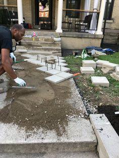Concrete Patios, Concrete Walkway, Paver Walkway, Front Walkway, Brick Pavers, Cement Pavers, Walkways, Diy Pavers Patio, Paver Patio Designs