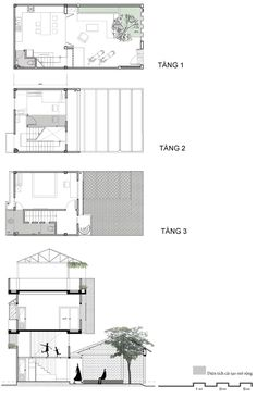 Gia chủ Sài Gòn bỏ nửa nhà làm sân Home Design Plans, Plan Design, Narrow House, Architecture Plan, My House, House Plans, Villa, Floor Plans, Construction
