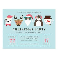 Hipster Santa & Friends Christmas Party Invitation Postcard - merry christmas postcards postal family xmas card holidays diy personalize