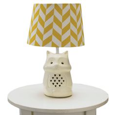 Fox Lamp Base & Amber Herringbone Shade