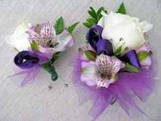 Matching Purple and White Prom Corsage and Boutonnière