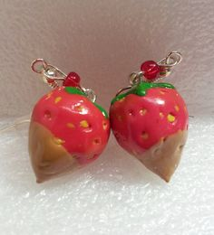 Chocolate Dipped Strawberry Earrings Polymer clay by GiraffesKiss, £7.50