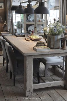 Rustic table & fabric chaires