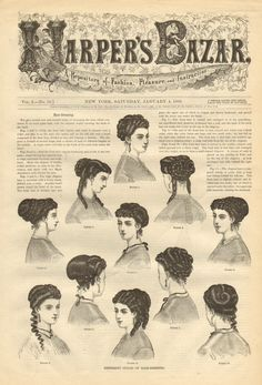 Hair styles from Harpers Bazar 1860s