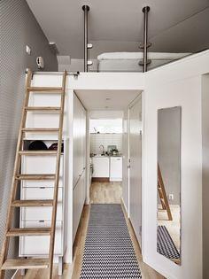 Pour tout avoir dans ce petit 31 m², on a imbriquer les volumes les uns dans les autres, les uns sur les autres.