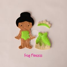 Frog princess felt paper doll, pretend play, quiet play, imaginary play, travel toy, felt non paper doll, by LucyandLyla on Etsy