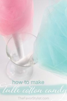 Here's a simple and inexpensive way to make tulle cotton candy that looks just like the real thing--without the sticky sugar. Perfect for party centerpieces! #cottoncandy #birthdayparty #kidsbirthday #partyideas Spa Party Favors, Kids Spa Party, Bachelorette Favors, Cotton Candy Cocktail, Cotton Candy Party, Sweet 16 Decorations, Quince Decorations, Candy Centerpieces, Wedding Reception Centerpieces