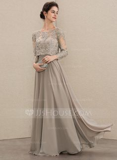 A-Line Scoop Neck Floor-Length Chiffon Lace Mother of the Bride Dress With Sequi. - A-Line Scoop Neck Floor-Length Chiffon Lace Mother of the Bride Dress With Sequins – Mother of the Bride Dresses – JJ's House Source by - Event Dresses, Wedding Party Dresses, Bride Dresses, Wedding Entourage Gowns, Gown Party Wear, Dress Brokat, Stylish Dresses For Girls, Chiffon Dress Long, Groom Dress
