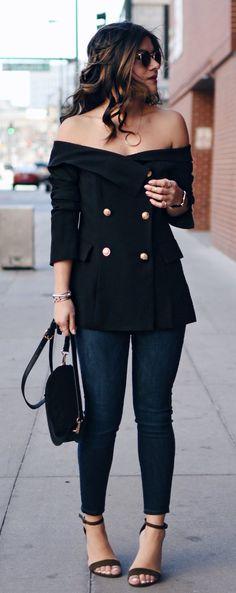 Black Off Shoulder Top & Navy Skinny Jeans & Black Sandals
